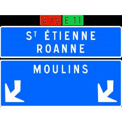 Panneau de confirmation filante utilisé sur autoroute D62d