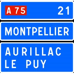 Panneau de confirmation prochaine bifurcation autoroutière D63d