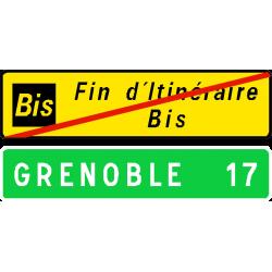 """Panneau de confirmation fin d'itinéraire """" Bis D69b"""