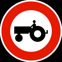 Panneau d'interdictionaccès interdit aux véhicules agricoles à moteur B9D