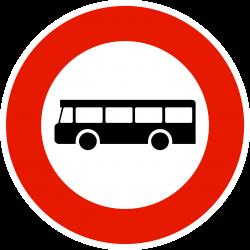 Panneau d'interdictionaccès interdit aux véhicules de transport en commun B9F