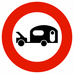 Panneau d'interdictionaccès interdit aux véhicules tractant une caravane/remorque B9i