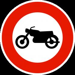 Panneau d'interdictionaccès interdit aux motocyclettes B9h