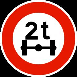 Panneau d'interdictionlimitation de poids par essieu B13a