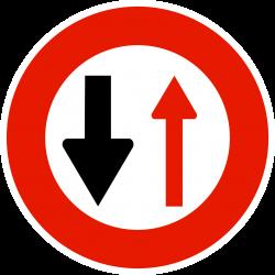 Panneau d'interdictioncédez le passage à la circulation venant en sens inverse B15