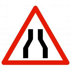 Panneau de danger chaussée rétrécie A3