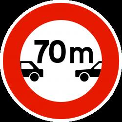 Panneau d'interdictiondistance à respecter B17
