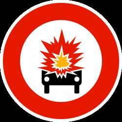 Panneau d'interdictionmatières explosives ou facilement inflammables B18A