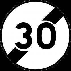 Panneau d'interdictionfin de limitation de vitesse B33
