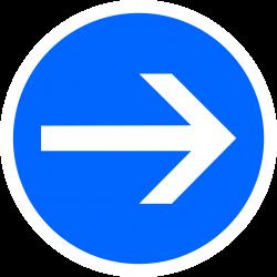 Panneau d'obligation direction obligatoire vers la droite B21-1
