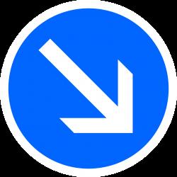 Panneau d'obligation Contournement obligatoire par la droite B21a1