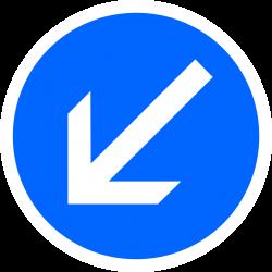 Panneau d'obligation Contournement obligatoire par la gauche B21a2