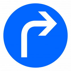 Panneau d'obligation direction à droite B21C1