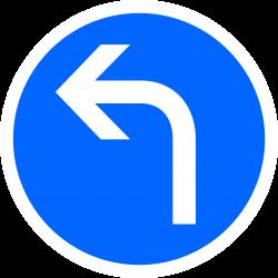 Panneau d'obligation direction à gauche B21C2