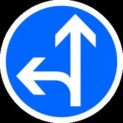 Panneau d'obligationdirections tout droit ou à gauche B21D2