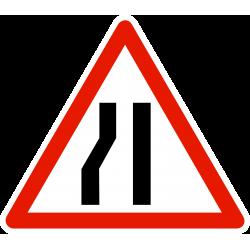 Panneau de danger chaussée rétrécie par la gauche A3B