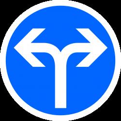 Panneau d'obligation directions à droite ou à gauche B21E