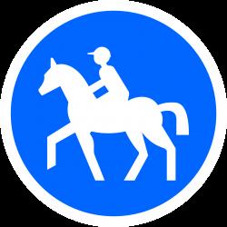 Panneau d'obligation chemin obligatoire pour cavaliers et réservée aux cavaliers B22C