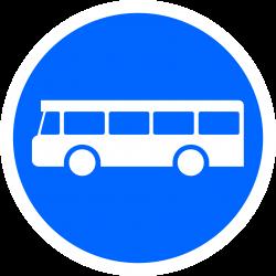 Panneau d'obligation voie réservée véhicules services réguliers transport en commun B27a
