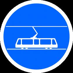 Panneau d'obligation voie réservée aux tramways B25