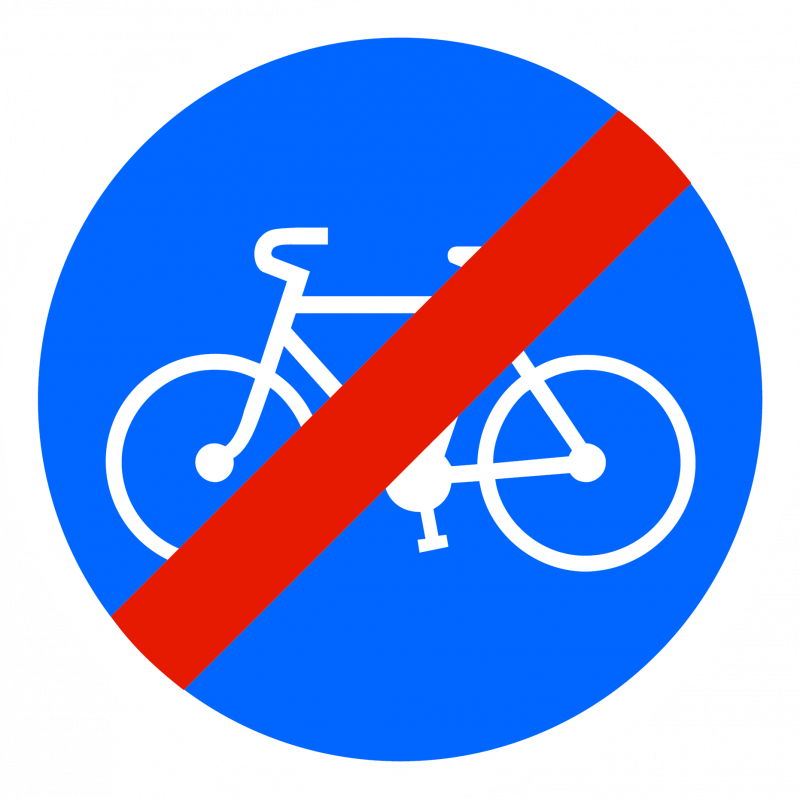 Panneau d'obligation fin de piste ou bande obligatoire pour cycle B40